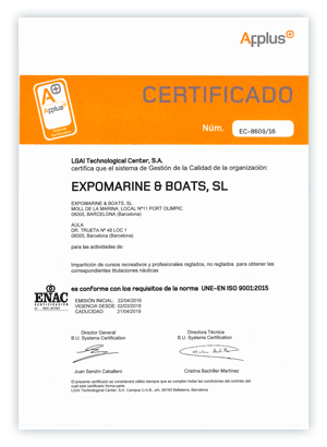 ISO 9001 Applus - Escola Port | Formación profesional del Mar