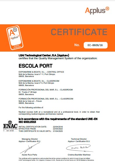 ISO 9001 Applus Escola Port